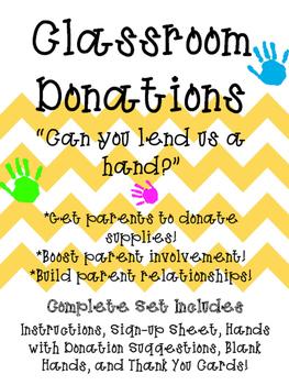 Lend A Hand Classroom Donations for Meet the Teacher, Open
