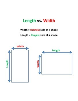 Length vs. width visual and practice sheet combo