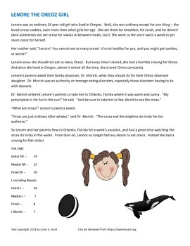 Lenore the Oreoz Girl -- a story for articulation practice