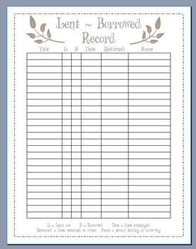 Lent / Borrowed Book Tracker