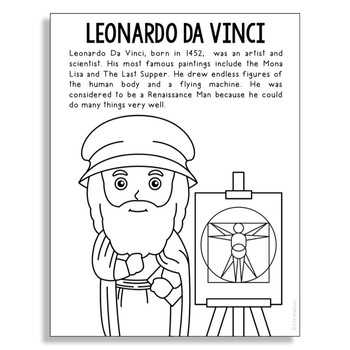 Leonardo Da Vinci Coloring Page Activity or Poster with Mi