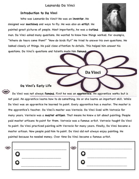 Leonardo Da Vinci Nonfiction Article Differentiated + Comm