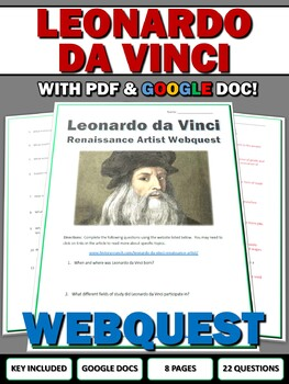 Leonardo da Vinci - Webquest with Key (History.com)