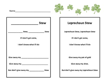 Leprechaun Writing  St Patrick's Day - Leprechaun Stew Poem