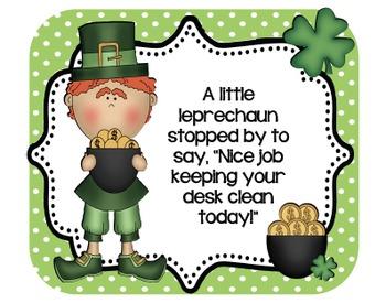 Leprechaun Desk Cards! Freebie! Positive reinforcement for