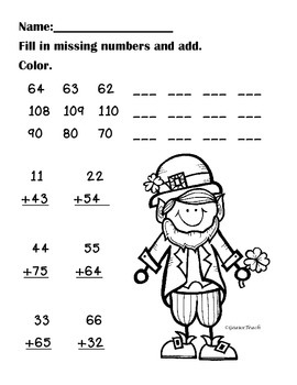 Leprechaun Double Digit Addition and Fill in the Missing Numbers