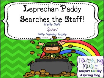 Leprechaun Paddy Searches the Staff! Treble Staff Note Nam