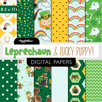 Leprechaun printable digital paper-USL 8.5 x 11 - st patri