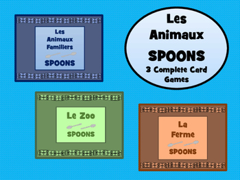 Les Animaux - Spoons Card Games Bundle- 3 Complete Games i
