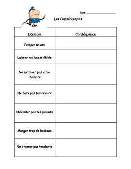 Les Conséquences Feuille de Travail - Consequences Worksheet