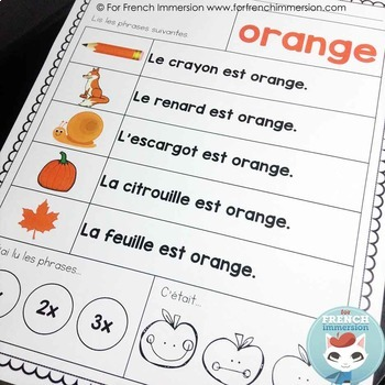 Les Couleurs - Reading Fluency Practice Sheets and Center