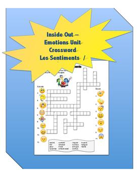 Les Émotions/ Les Sentiments Crossword Puzzle  - Sens Dess