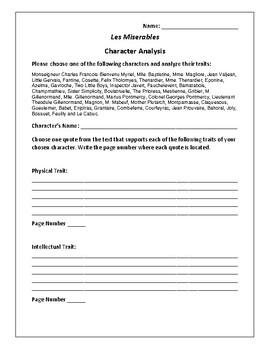Les Miserables - Character Analysis Activity - Victor Hugo