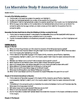 Les Miserables Study Guide and Annotations