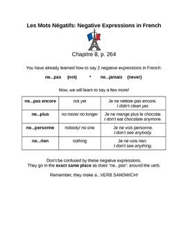 Les Mots Négatifs en Français: Negations in French