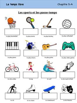 Les Sports et les Passe-temps Vocabulary Organizer (Bien D