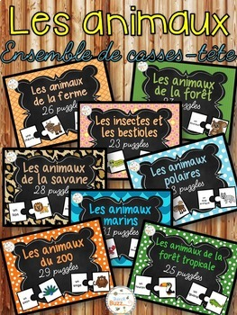 Les animaux - Ensemble de casses-tête - French animals puzzles
