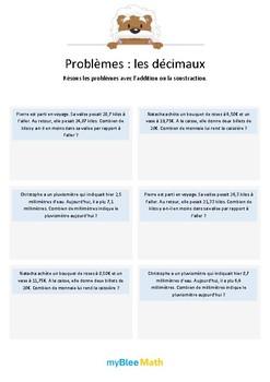 Les décimaux 3 - Additions et soustractions de nombres déc