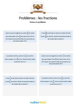 Les fractions 1 - Additions de fractions avec dénominateur