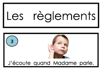 Les règlements (The Rules in French) Whole Brain Teaching style