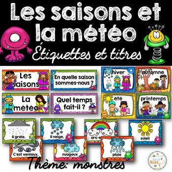 Les saisons et la météo - étiquettes pour la classe - thèm