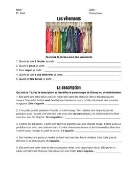 Les vêtements et la description