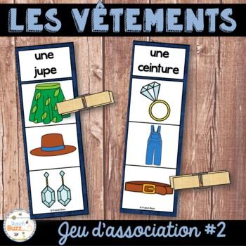 Les vêtements - jeu d'association - images / French Clothing