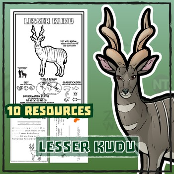 Lesser Kudu -- 10 Resources -- Coloring Pages, Reading & A