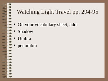 Lesson 02 Watching Light Travel Vocab and Procedures