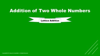 Lesson 7 Part  2: Addition of Two Whole Numbers (Lattice S