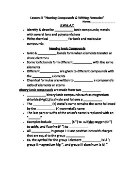 """Lesson III Student PowerPoint Note Guide """"Naming & Writing"""