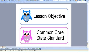Lesson Objective/Common Core Standard Label-owl theme