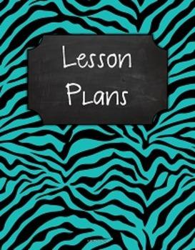 {Lesson Plan Binder Cover Freebie} Turquoise & Black Zebra