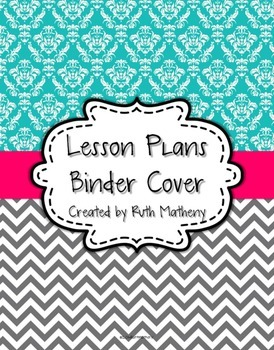 {Lesson Plan Binder Cover Freebie} Turquoise Damask and Gr