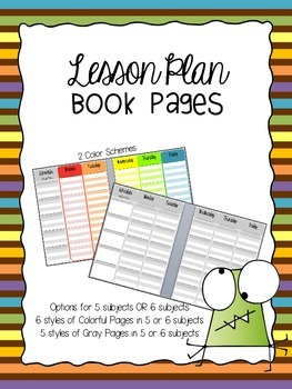 Lesson Plan Book Pages