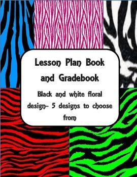 Lesson Plan Book and Gradebook- Zebra theme