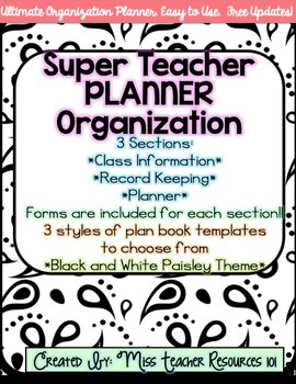 Lesson Plan Book and Organizer - Editable - Black and Whit