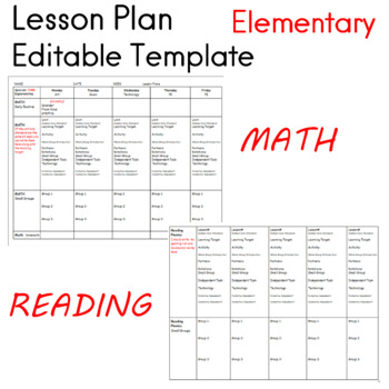Lesson Plan Editable Template first, second and third grade