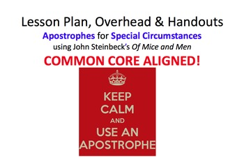 Lesson Plan & Handouts: Apostrophes for Special Use in Ste