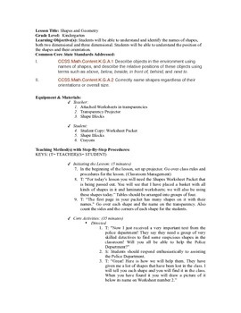 Geometry Lesson Plan- Part 1 of 2
