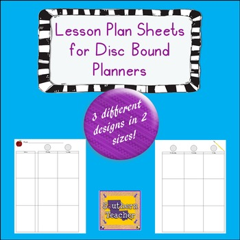 Lesson Plan Sheets for Disc Bound Planners