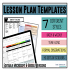 Lesson Plan Templates - Multiple Editable Templates {Google Digital Resource}