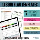 Lesson Plan Templates - Multiple Editable Templates (Google Drive Resource)