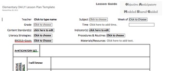 Lesson Plan Template DAILY created in Microsoft Word less