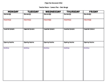 Lesson Plan Template:  Elementary Math