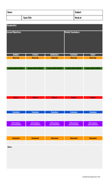 Lesson Plan Template (Fillable PDF)