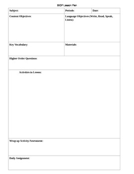 Lesson Plan Template (SIOP)