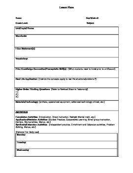 Lesson Plan Template - Weekly