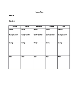 Lesson Plan Template for Resource Teacher
