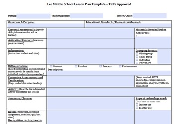 Lesson Plan Template for Teacher Keys Evaluation System